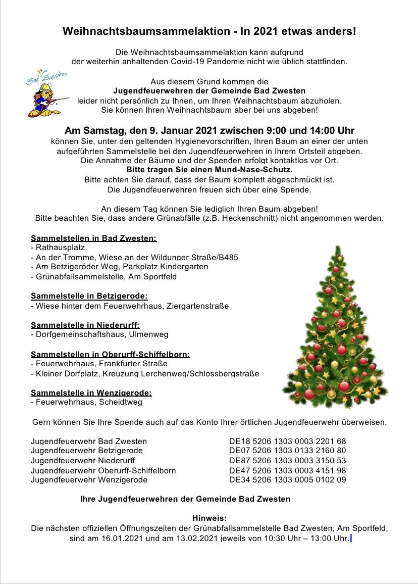 Weihnachtsbaumsammelaktion 2021